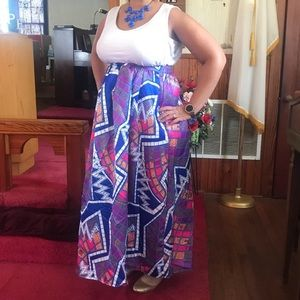 Colorful High Waist Maxi Skirt NWOT